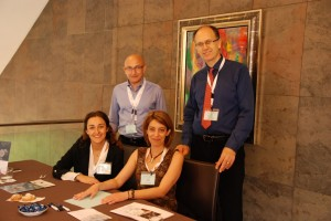Alba and Elena at Registartion desk with Co Chair and Conference chair 2016