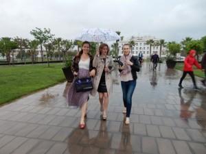 Pretty women in the rain Valencia 2016