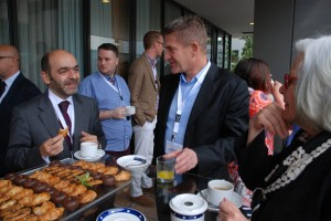 Rui, Michael from Swarowski and Gail at MGJ conference coffee break at balkony Valencia