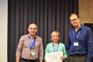 George and Branko giving Synthetic Diamond workshop certificate to ELENA REZNIKOVA GOKHRAN