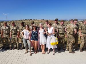 Ivana, Sarah, Laura and Kathryn with British soldier
