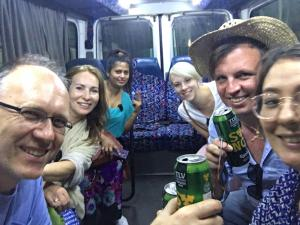Branko, Elena, Sri Lankan passenger, Laura, Brian and Sarah at bus in Tel Aviv