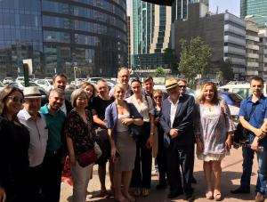 Israel post conference trip, group in front of Diamond bourse Ramat Gan