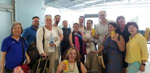 Israeli post conference group at airport in Larnaca